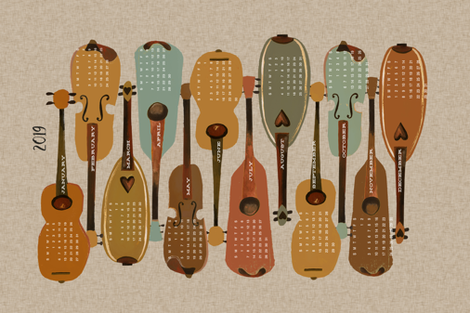2019 Instrument Calendar  - Vintage fabric by andrea_lauren on Spoonflower - custom fabric