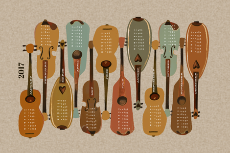 2017 Instrument Calendar  - Vintage fabric by andrea_lauren on Spoonflower - custom fabric