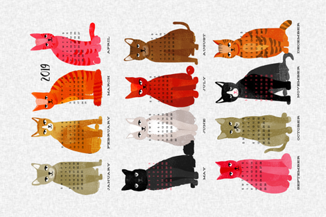 2019 Cat Calendar - Light Version by Andrea Lauren fabric by andrea_lauren on Spoonflower - custom fabric