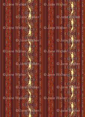 Running Greyhound Stripe, Red and Yellow