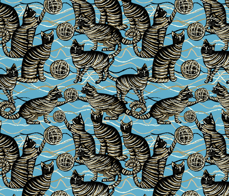 cats on blue fabric by kociara on Spoonflower - custom fabric