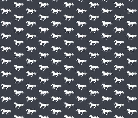 White Pony Charcoal fabric by thistleandfox on Spoonflower - custom fabric