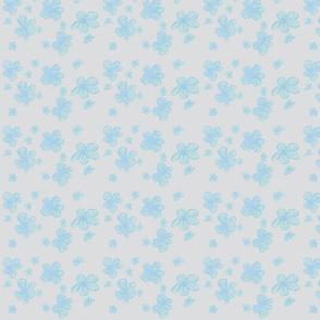 Blue Pencil Crayon Flowers