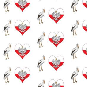Polish Stork, Eagle and Heart