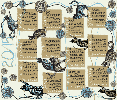 cat lover's calendar 2015 fabric by kociara on Spoonflower - custom fabric