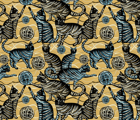 playing cats on yellow fabric by kociara on Spoonflower - custom fabric