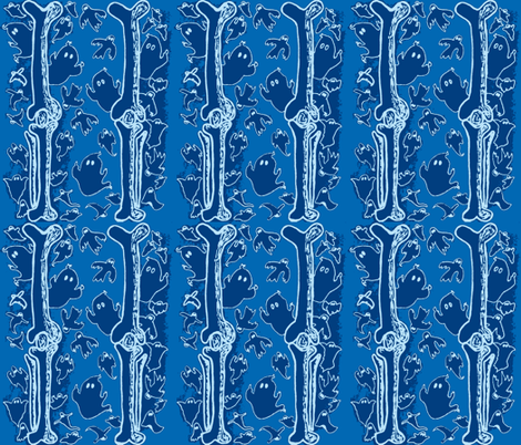 Blue Ghosties and  Leg Bones fabric by lisakling on Spoonflower - custom fabric