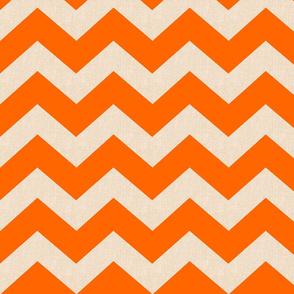 Chevron burlap / tangerine