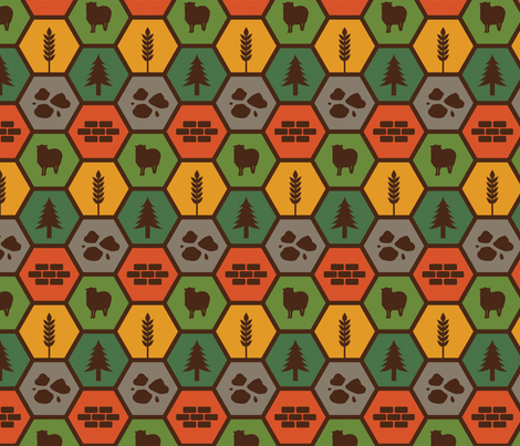 Catan on Brown fabric by meglish on Spoonflower - custom fabric