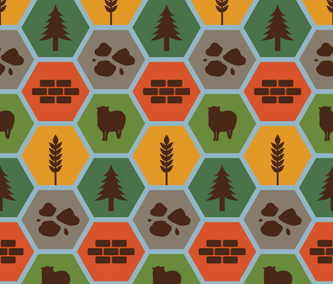 Catan with Brown on Blue LARGE fabric by meglish on Spoonflower - custom fabric