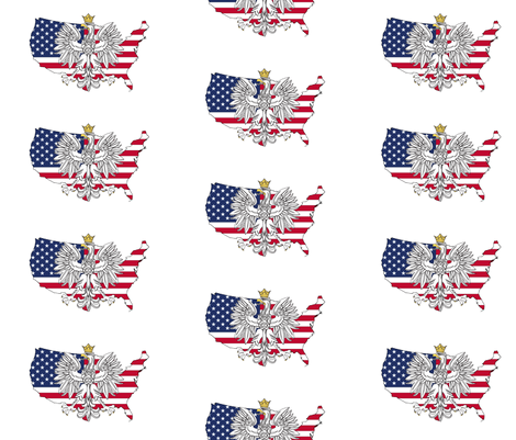 Polish American Eagle Map fabric by poltex on Spoonflower - custom fabric