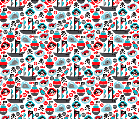 Ahoy pirates and parrot boys fabric fabric by littlesmilemakers on Spoonflower - custom fabric
