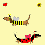 Dachshund Ladybug and Bumble Bee by Sudachan