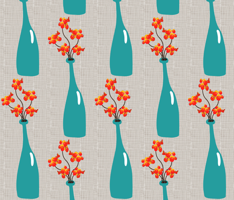 Bittersweet in a Teal Vase fabric by vanillabeandesigns on Spoonflower - custom fabric