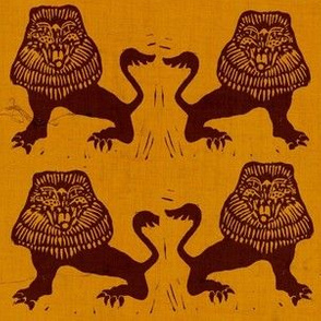 Lions on pumpkin texture