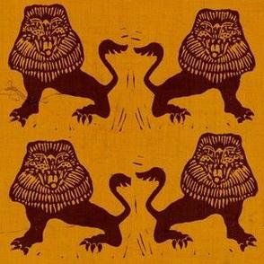 Lions on pumpkin texture