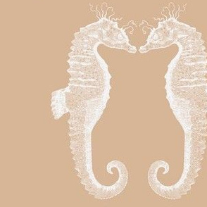 Pair of Sea Horses Taupe
