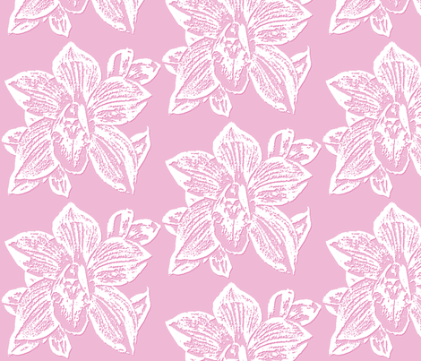 Orchid in Pink and White fabric by koalalady on Spoonflower - custom fabric