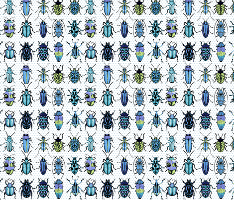 Beetles - blue green fabric by chantal_pare on Spoonflower - custom fabric