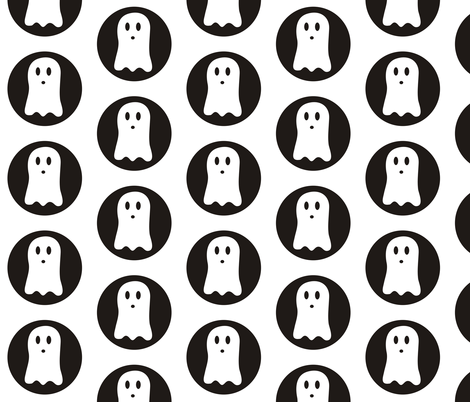 Spooky Polka White fabric by pennyroyal on Spoonflower - custom fabric