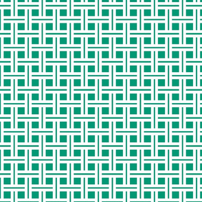 White on Emerald Open Weave Stripes