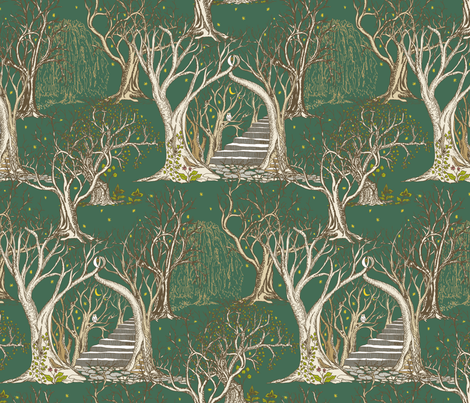 Ghostly Trees in the Spooky Dark Forest fabric by rhondadesigns on Spoonflower - custom fabric
