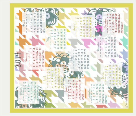 Colorful Colendar 2014 fabric by littlerhodydesign on Spoonflower - custom fabric