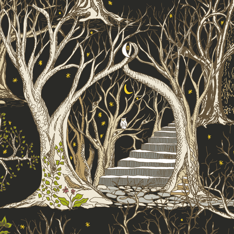 Ghostly Trees in the Spooky Midnight Forest fabric by rhondadesigns on Spoonflower - custom fabric