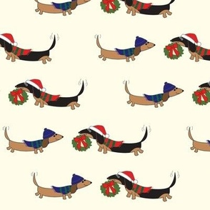 Dachshunds with Holiday Wreath by Sudachan