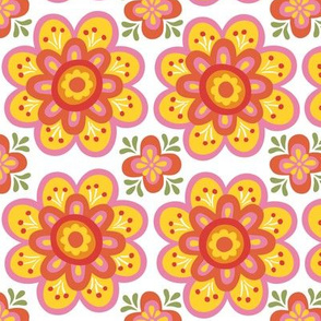 Retro Orange Flowers