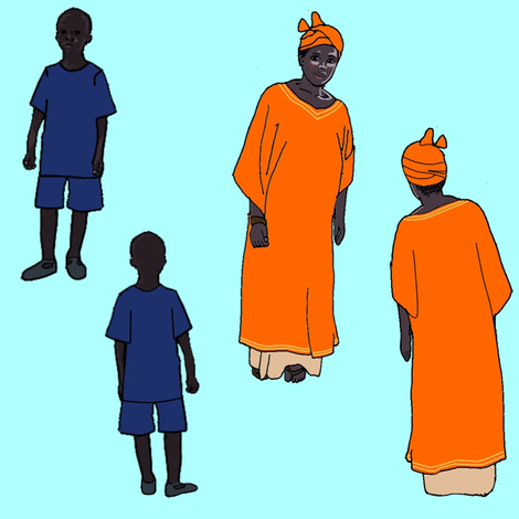 Senegalese Woman and Child in Aqua, Blue and Orange fabric by bloomingwyldeiris on Spoonflower - custom fabric