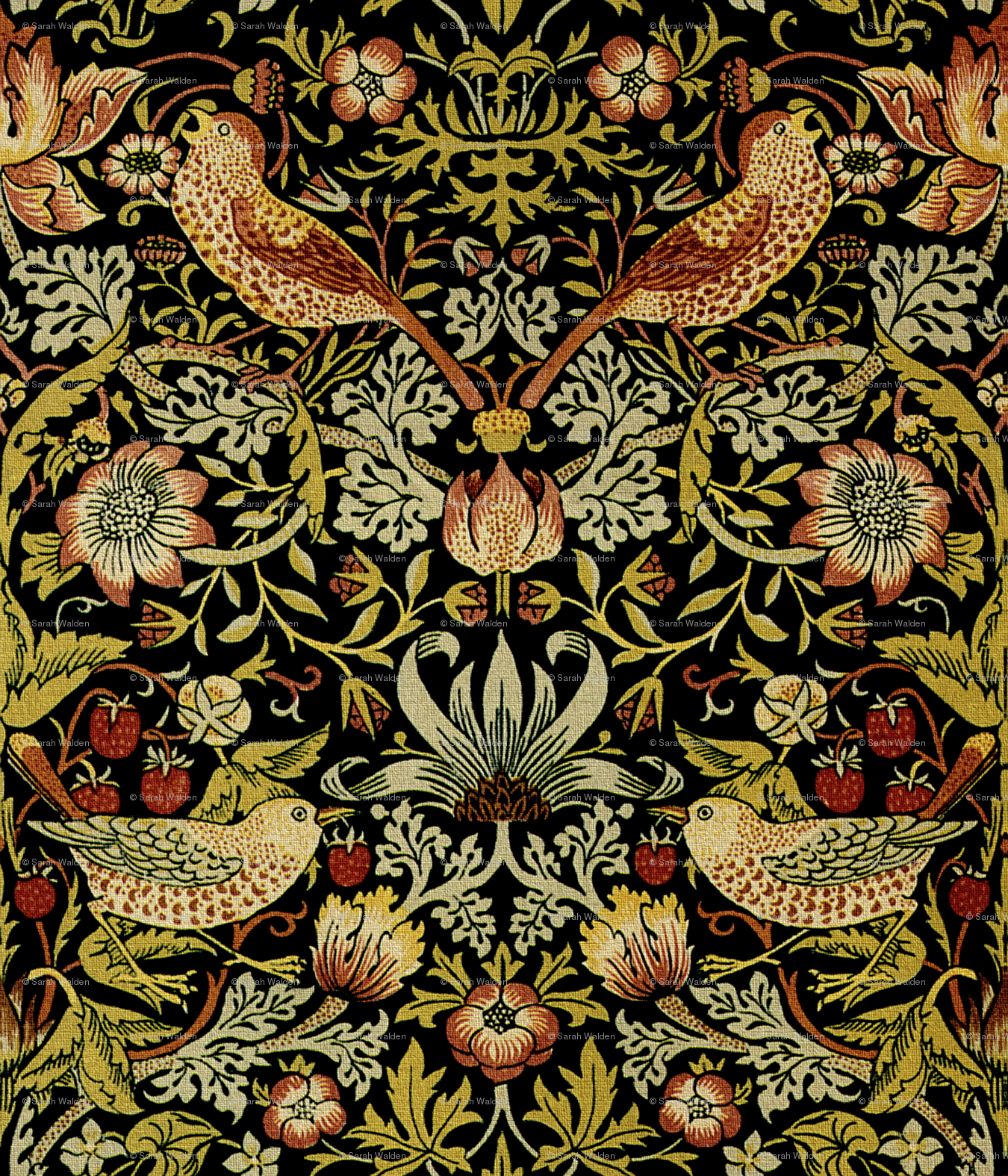 William Morris Strawberry Thief Intense Small Wallpaper