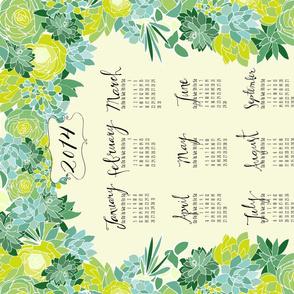 Succulent Tea Towel 2014 Calendar in fresh green