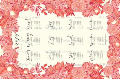 Succulent Tea Towel 2014 Calendar in Pink