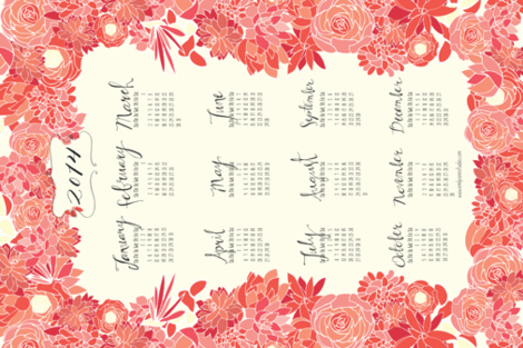 Succulent Tea Towel 2014 Calendar in Pink fabric by emilyannstudio on Spoonflower - custom fabric