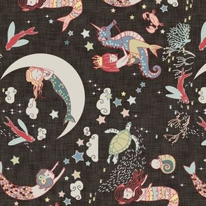 Mermaid Lullaby SMALL (Black linen) RAILROADED