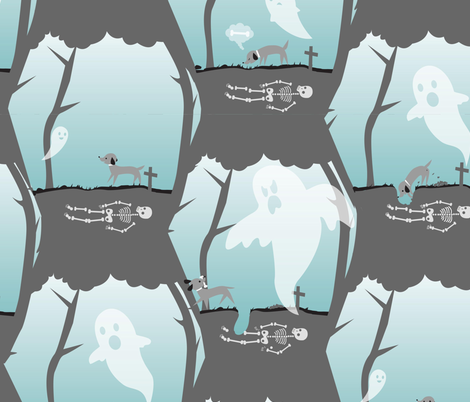 ghost vs dog fabric by fauna_design on Spoonflower - custom fabric