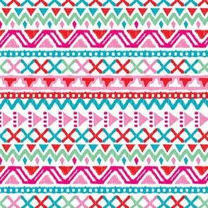 Colorful Tribal Aztec Pink Folkore Wallpaper