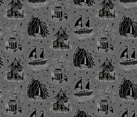 Ghostly Abodes fabric by ceanirminger on Spoonflower - custom fabric