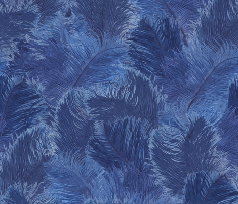 Ostrich Feather - large Indigo fabric by minimiel on Spoonflower - custom fabric