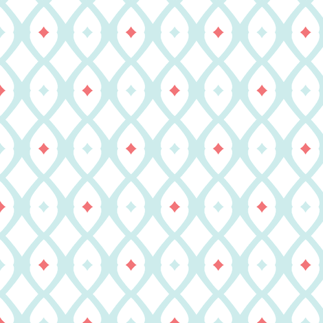 fish net (lt. Aqua, Salmon and White) fabric by pattyryboltdesigns on Spoonflower - custom fabric
