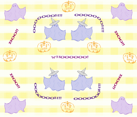 Dancing Ghosts lg yellow check fabric by sewpersonal_designs on Spoonflower - custom fabric