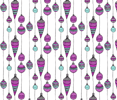Pink and blue baubles fabric by annemclean on Spoonflower - custom fabric