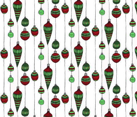 red and green baubles fabric by annemclean on Spoonflower - custom fabric