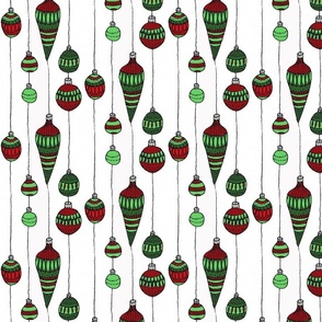 red and green baubles