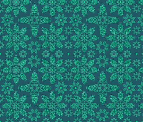 BLUE_SPIRALS-2-green fabric by iesza-jessica on Spoonflower - custom fabric