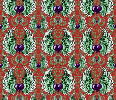 LOVE-RED-china-purple fabric by iesza-jessica on Spoonflower - custom fabric