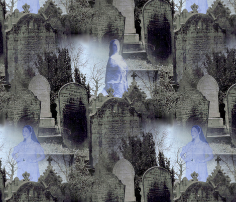 Haworth Graveyard ~ Women Amongst The Dead fabric by peacoquettedesigns on Spoonflower - custom fabric