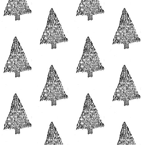 black & white Christmas tree fabric by annemclean on Spoonflower - custom fabric