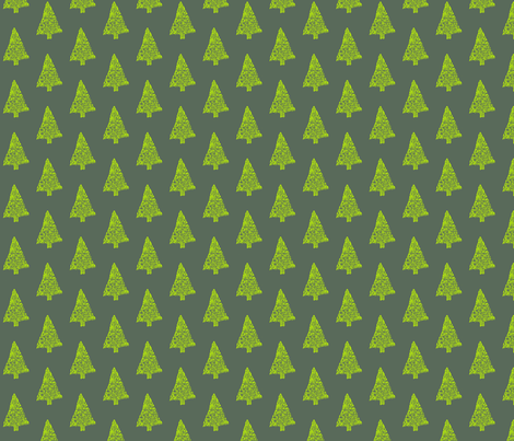 Yellow Christmas Trees  fabric by annemclean on Spoonflower - custom fabric